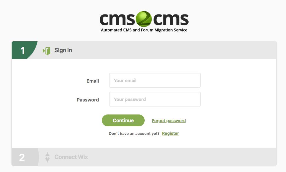 Создание аккаунта в cms2cms