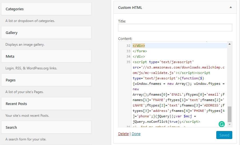 Вставьте HTML код на одну из страниц.