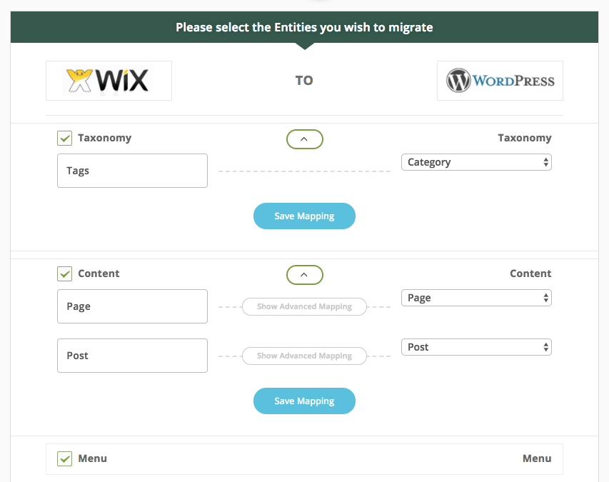 Выбор настроек для переноса сайта с Wix на WordPress